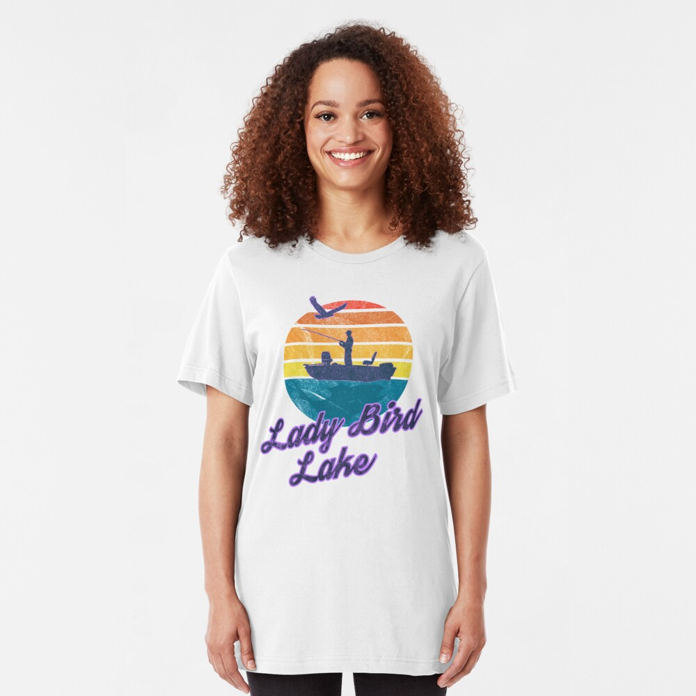 Lady Bird Lake Austin Texas USA America Great Lakes Fishing Trips Sail Boat T-Shirt & Gifts Slim Fit T-Shirt