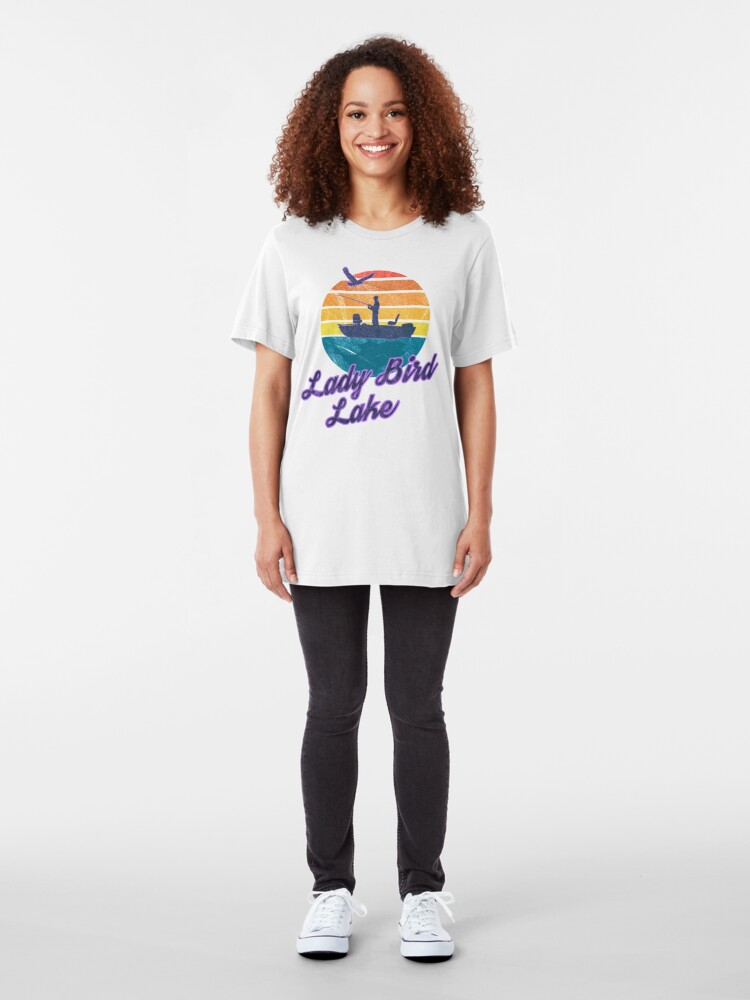 Alternate view of Lady Bird Lake Austin Texas USA America Great Lakes Fishing Trips Sail Boat T-Shirt & Gifts Slim Fit T-Shirt