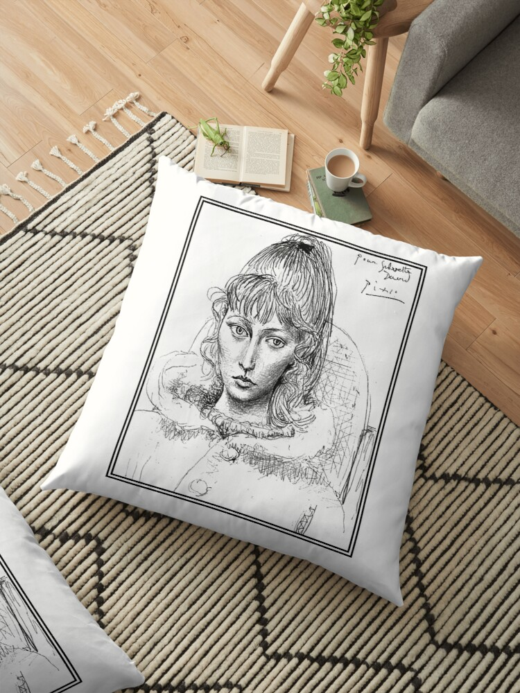 Sylvette David Vintage 1954 Picasso Sketch Floor Pillow By Posterbobs