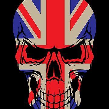 Union Jack England Flag skull Gift by Reutmor