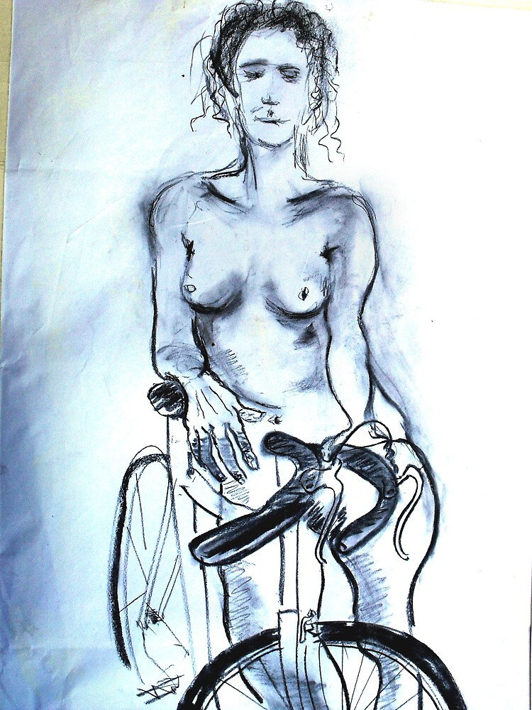 Nude Study With Bike. by Richard  Tuvey