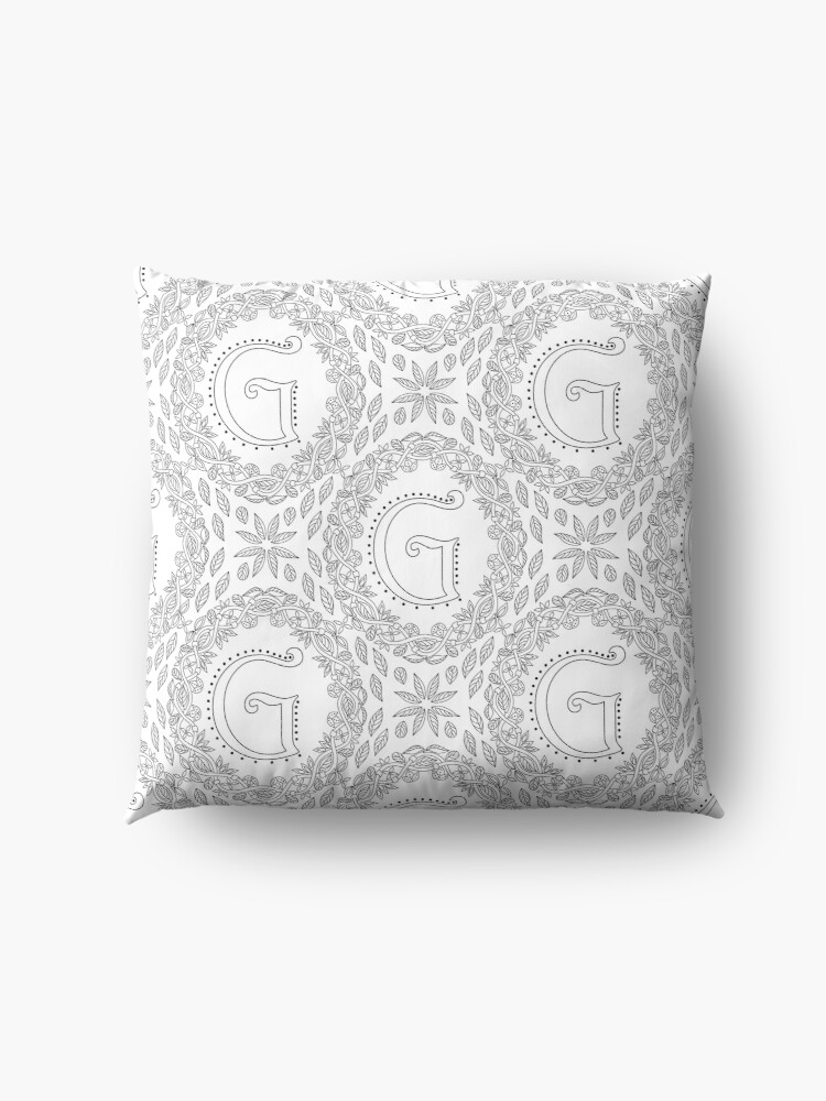 Alternate view of Letter G Black And White Wreath Monogram Initial Floor Pillow