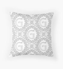 Letter G Black And White Wreath Monogram Initial Floor Pillow