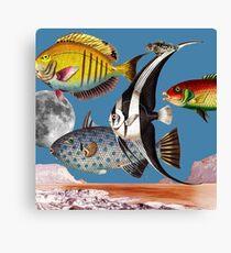 Fish World Blue #collage Canvas Print