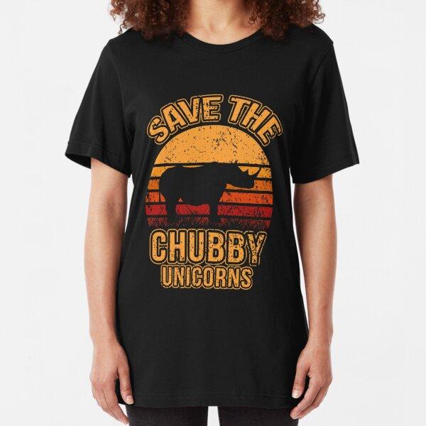 Save The Chubby Unicorns, Rhino, Gift, Retro, Vintage, Rhinocerus Slim Fit T-Shirt