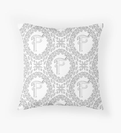 Letter F Black And White Wreath Monogram Initial Floor Pillow