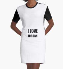 I Love Jordan Funny Gift Idea Graphic T-Shirt Dress