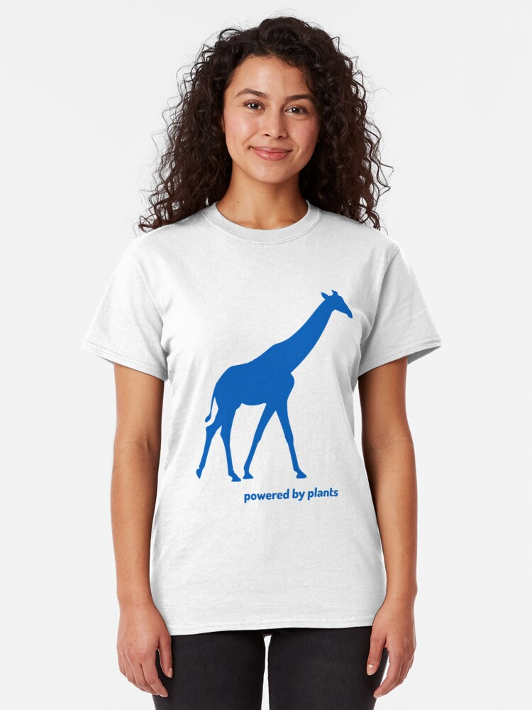 Alternate view of giraffe powered by plants Classic T-Shirt
