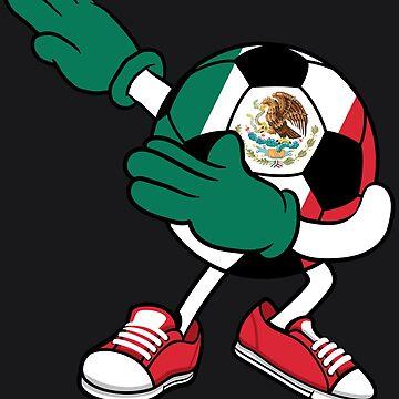 Dabbing Soccer Ball Mexico Jersey Art - Mexican Football by NBRetail