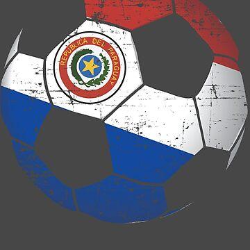 Paraguay Soccer Ball Flag Jersey Art - Paraguay Football by NBRetail