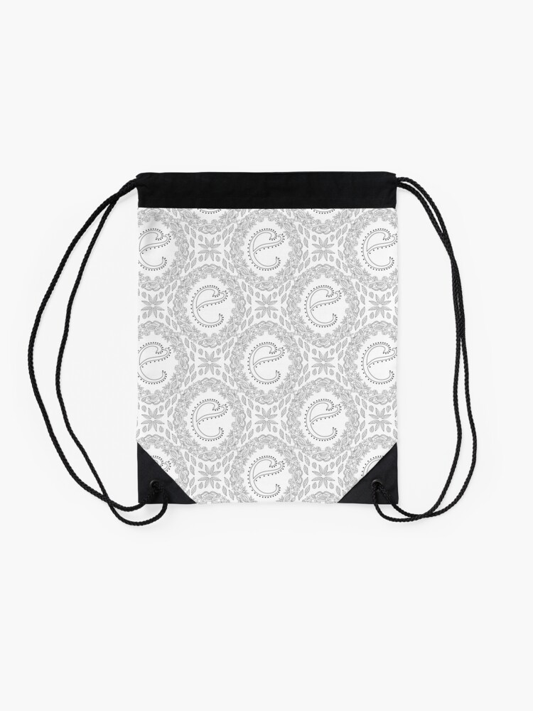Alternate view of Letter E Black And White Wreath Monogram Initial Drawstring Bag