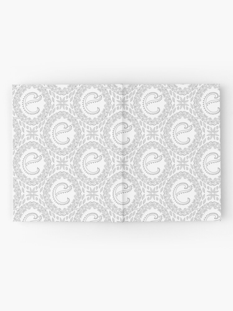 Alternate view of Letter E Black And White Wreath Monogram Initial Hardcover Journal