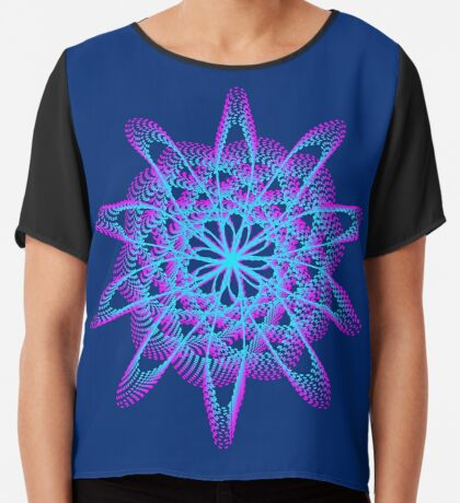 Spirograph with pink and blue Chiffon Top