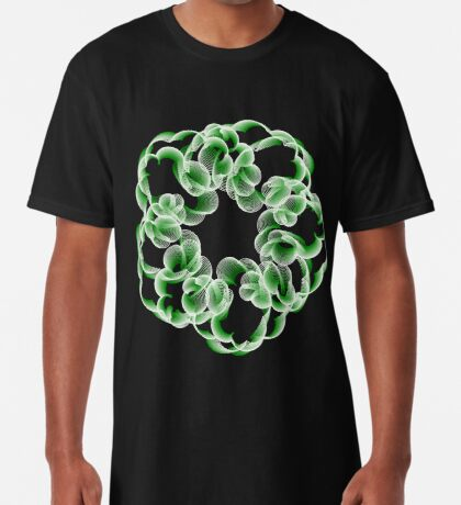 Spirals with Green and White Long T-Shirt
