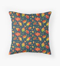 Leaves and Stars Watercolor Pattern on Teal Throw Pillow