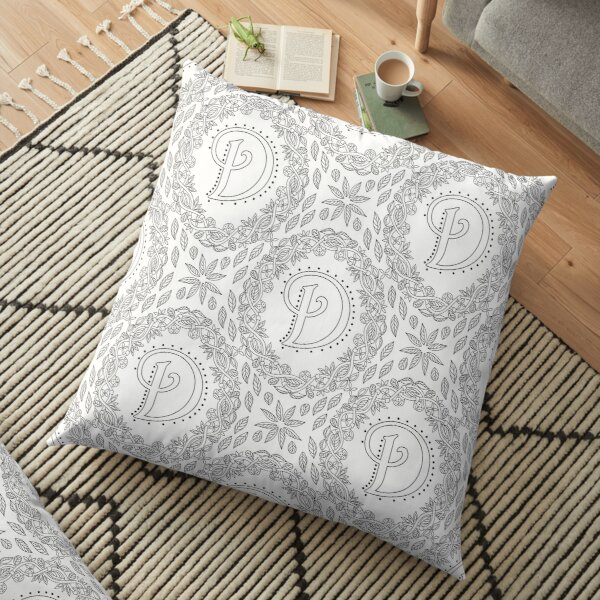 Letter D Black And White Wreath Monogram Initial Floor Pillow