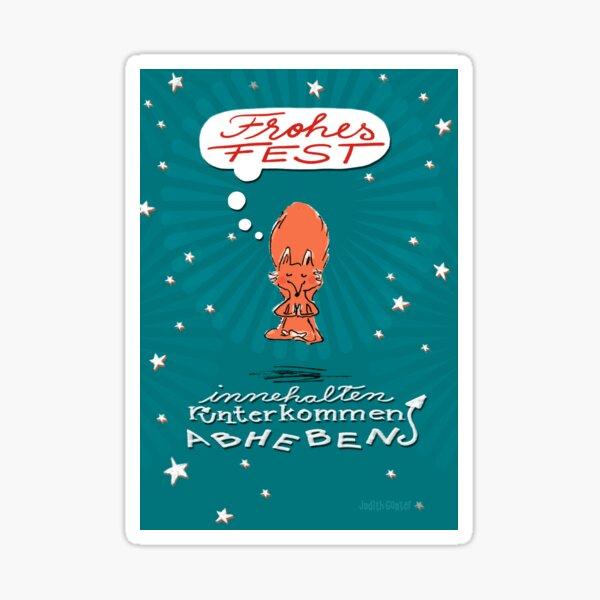 Schwebefuchs - Weihnachten - blau Sticker