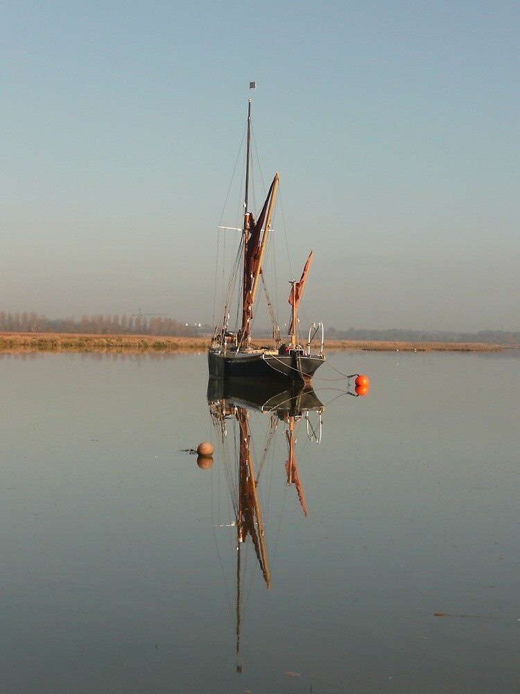 Suffolk Barge on the River Alde at Iken by Angela Wiley