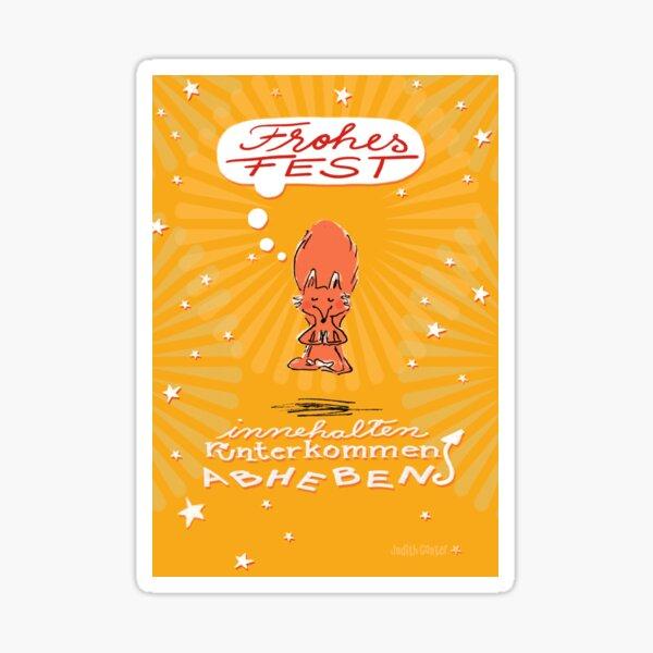 Schwebefuchs - Weihnachten - gelb Sticker