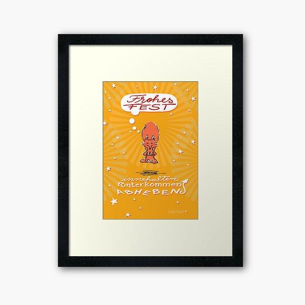 Schwebefuchs - Weihnachten - gelb Gerahmter Kunstdruck