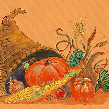 Thanksgiving Horn of Plenty, watercolor by Naquaiya