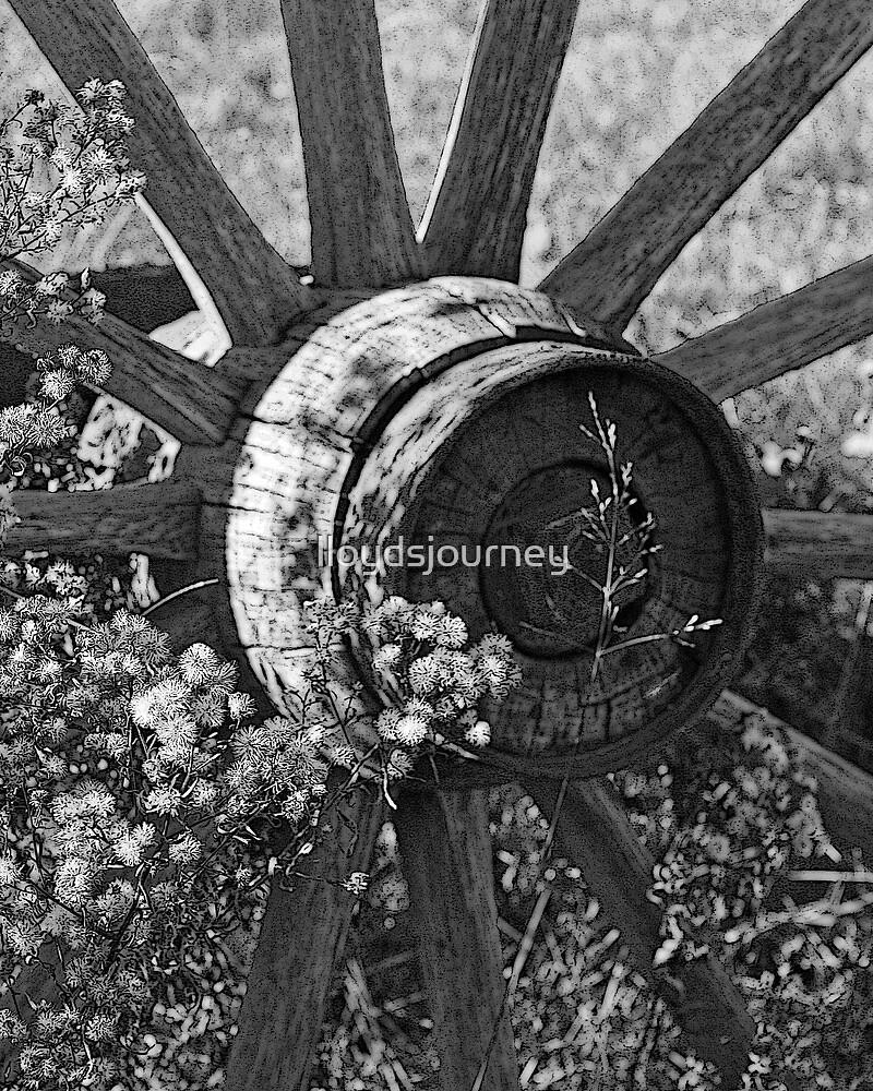 An Old Wagon Wheel by lloydsjourney