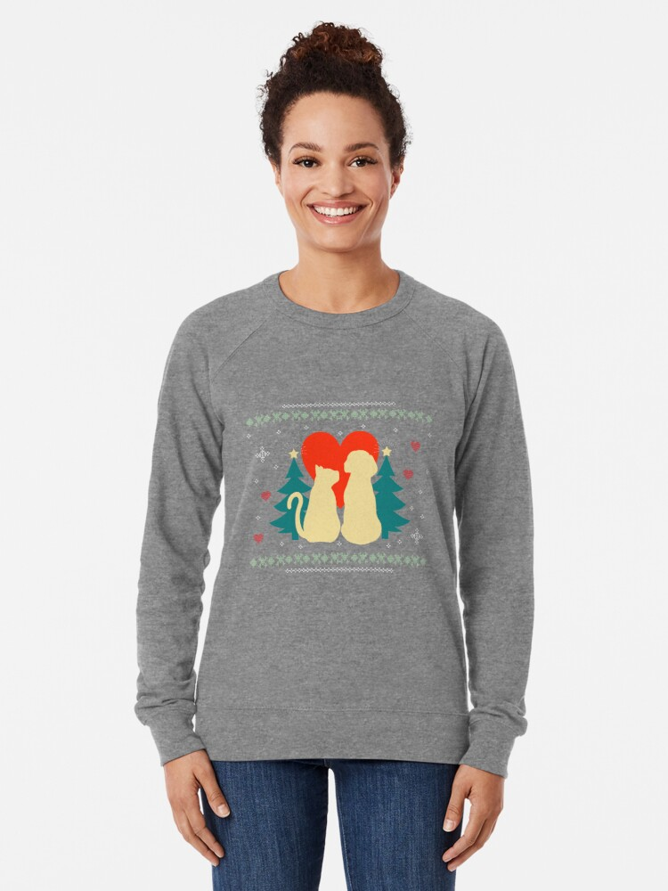 Alternate view of Goofy Christmas T-Shirt For Dog & Cat Lovers Lightweight Sweatshirt