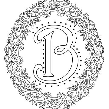 Letter B Black And White Wreath Monogram Initial by theartofvikki