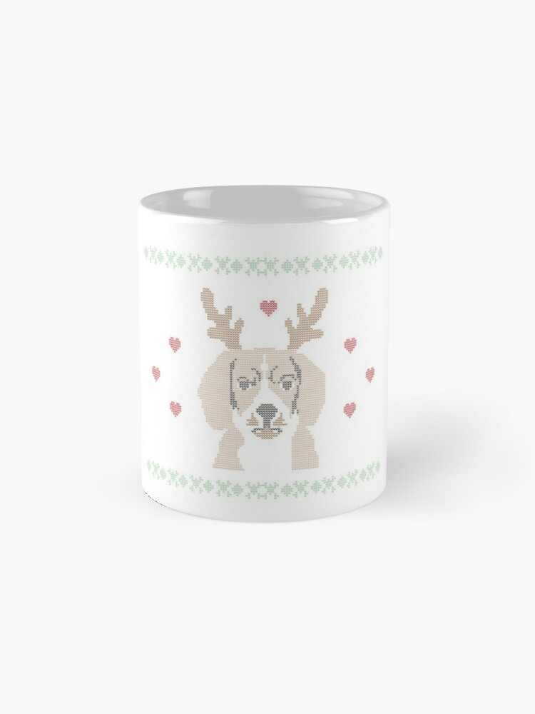 Alternate view of Beagle With Reindeer Ears: Cute Christmas T-Shirt For Dog Lovers  Mug