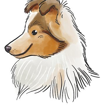 Rough Collie cute dog face illustration  by Extreme-Fantasy