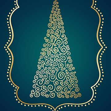 Gold and Blue Christmas Card by pamela4578