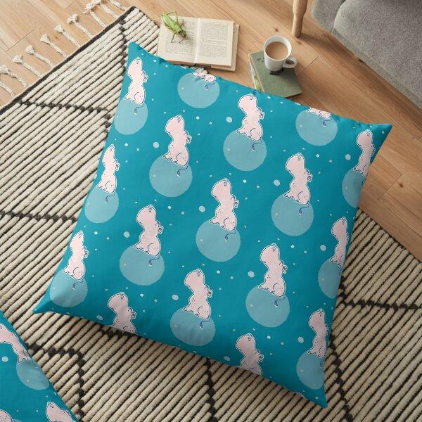 Nilpferd, Flusspferd - blau gemustert Bodenkissen
