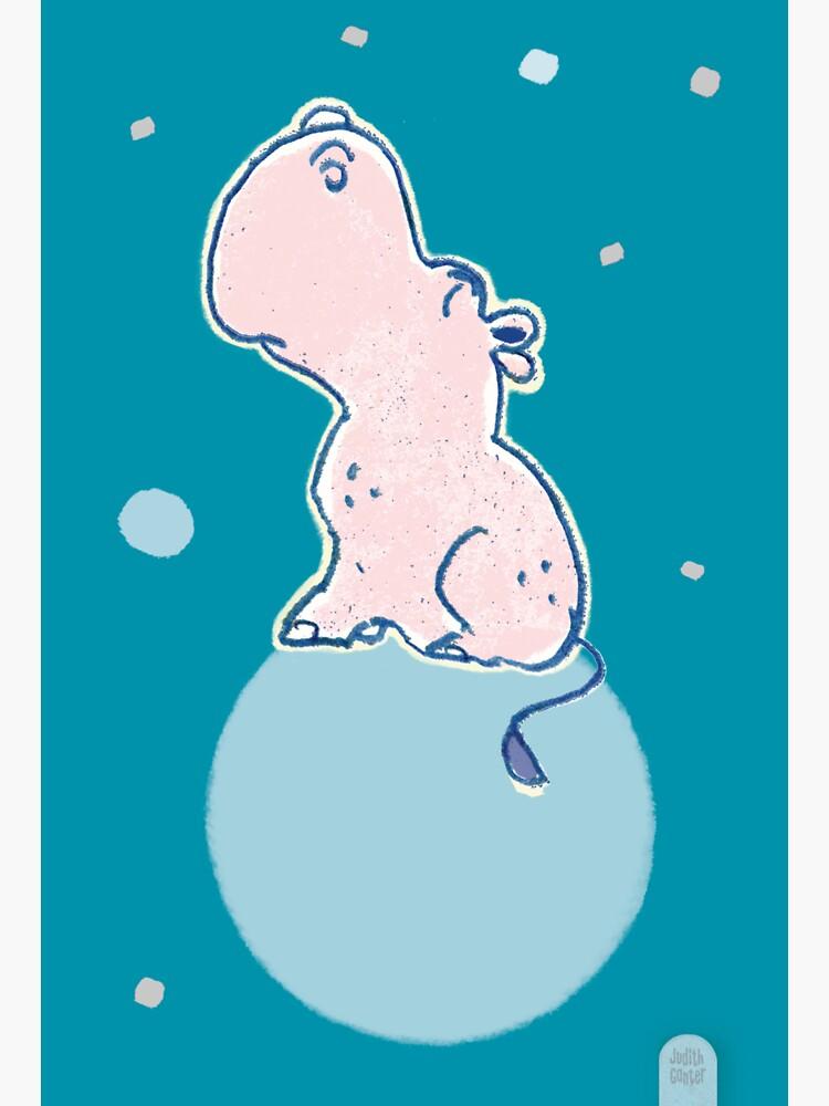 Nilpferd, Flusspferd - blau solo von JudithGanter