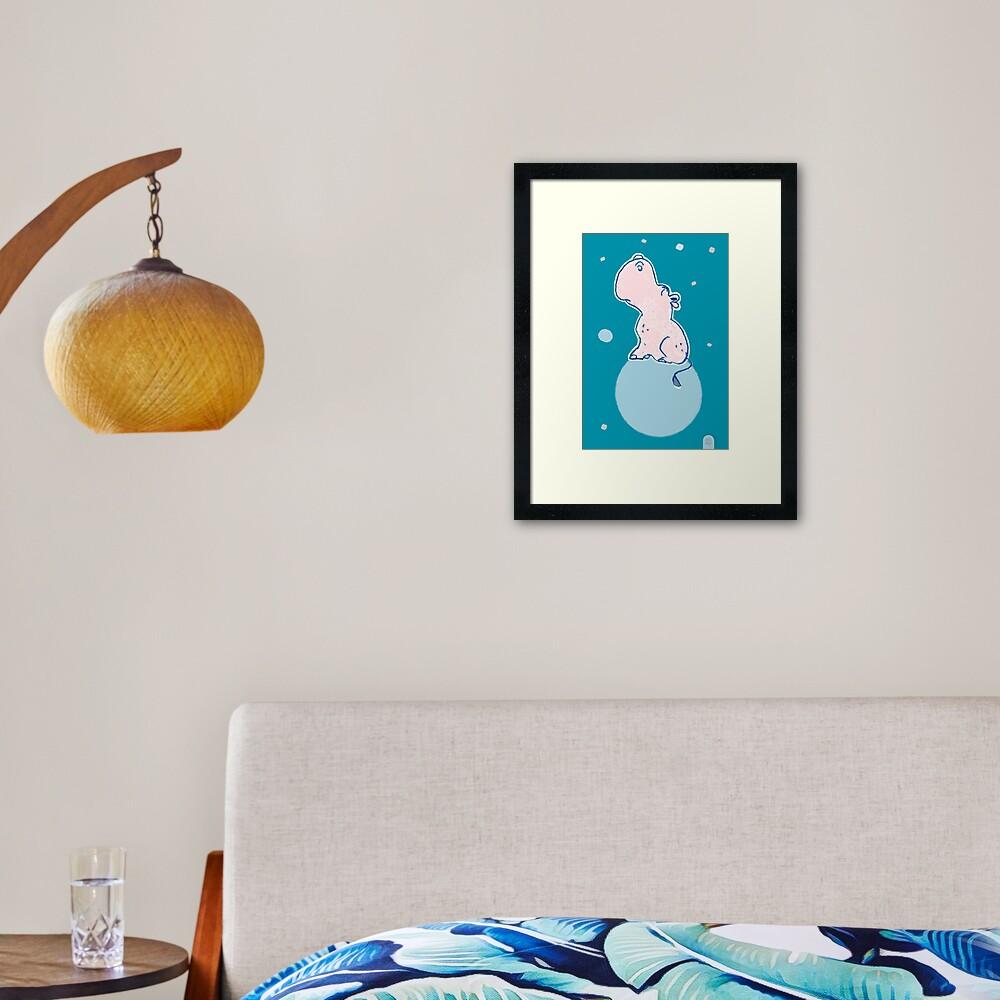 Nilpferd, Flusspferd - blau solo Gerahmter Kunstdruck