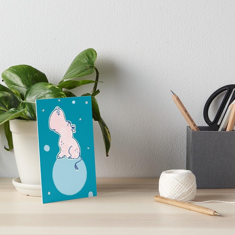 Nilpferd, Flusspferd - blau solo von Judith Ganter