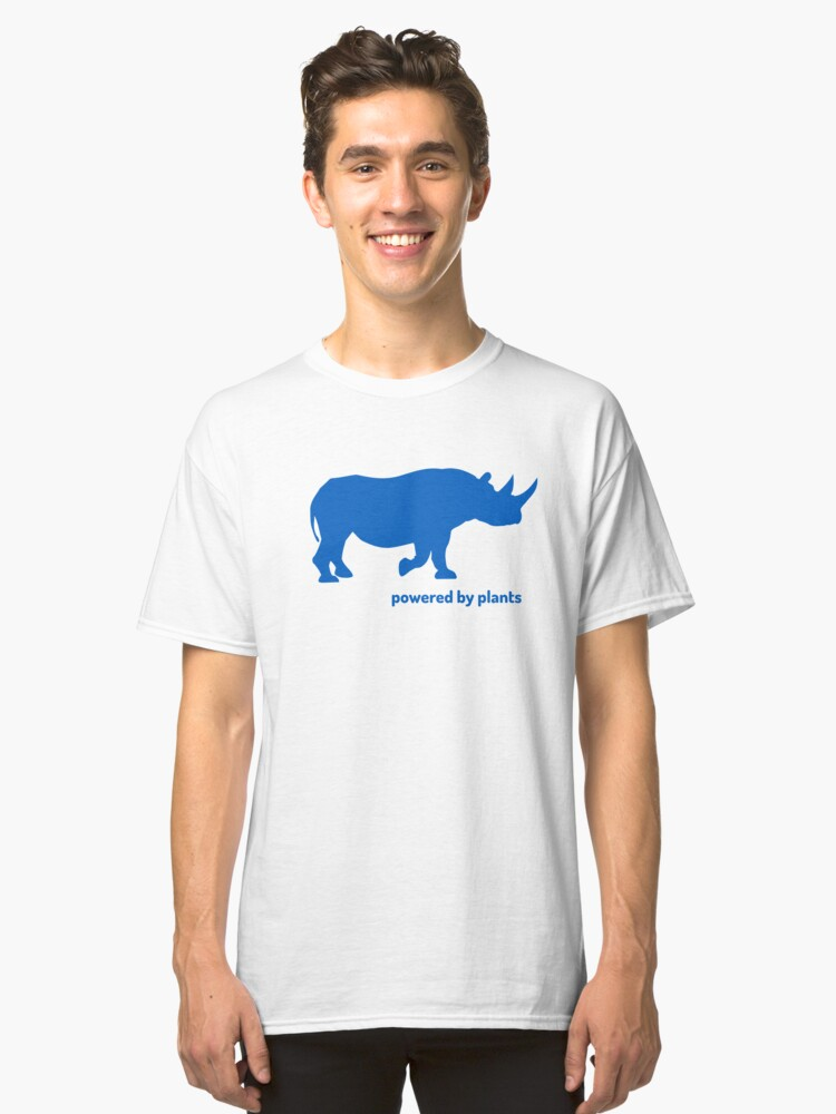 Alternate view of rhino powered by plants Classic T-Shirt