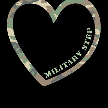 Military Step Sister Heart Combat Camo Uniform Love Military Family Retired or Deployed support troops patriot on Duty serves country by bulletfast