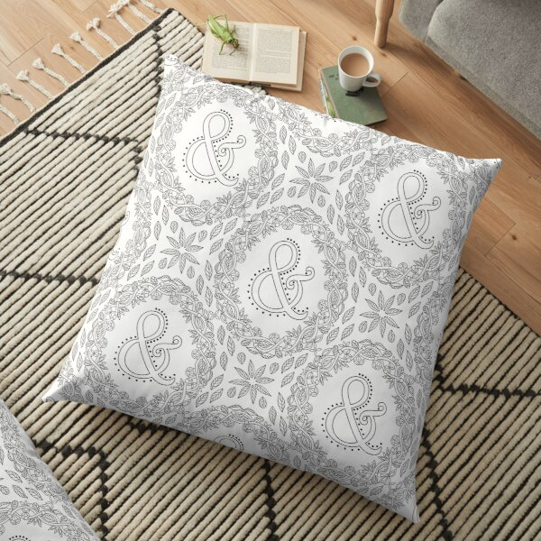 Letter & Black And White Wreath Ampersand Monogram Initial Sign Symbol Floor Pillow