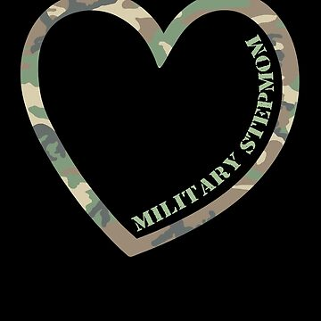 Military Stepmom Heart Combat Camo Uniform Love Military Family Retired or Deployed support troops patriot on Duty serves country by bulletfast