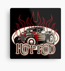 Cartoon retro hot rod with vintage lettering poster Metal Print