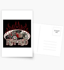 Cartoon retro hot rod with vintage lettering poster Postcards