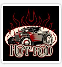 Cartoon retro hot rod with vintage lettering poster Sticker