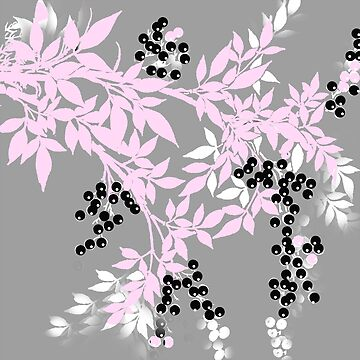 TREE BRANCHES GRAY WHITE AND SOFT PINK PATTERN by Overthetopsm