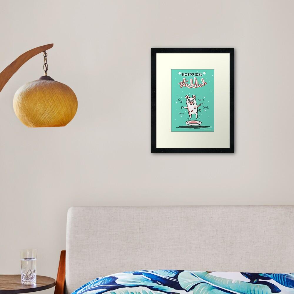 Trampolinschweinchen - Hopsfildel glücklich Gerahmter Kunstdruck