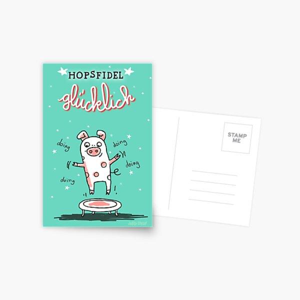 Trampolinschweinchen - Hopsfildel glücklich Postkarte