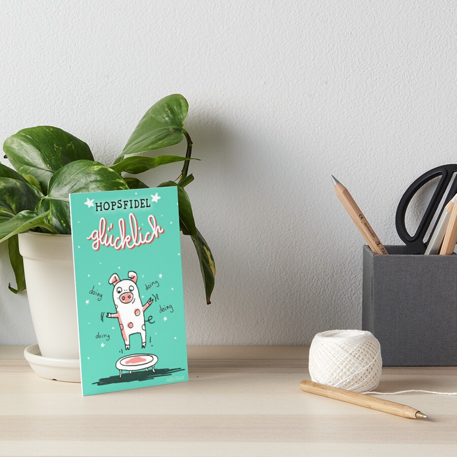 Trampolinschweinchen - Hopsfildel glücklich Galeriedruck
