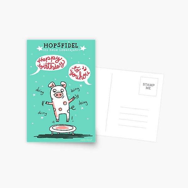 Trampolinschweinchen - Hopsfildel ins neue Lebensjahr - Happy birthday to you Postkarte