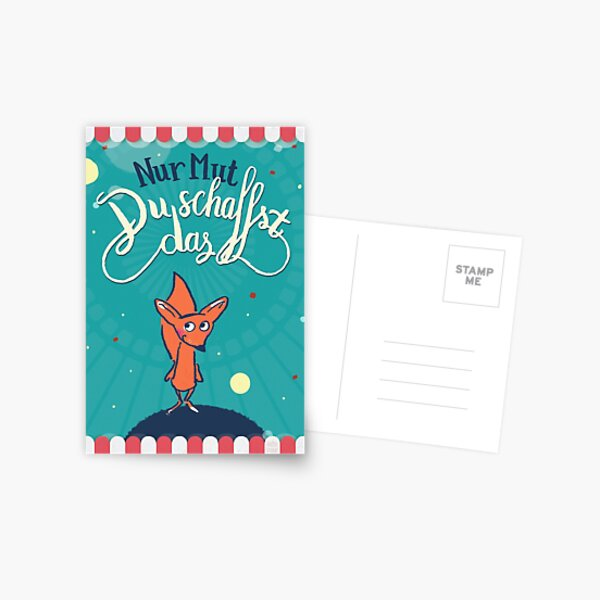 Fuchs - Nur Mut - Du schaffst das! Postkarte
