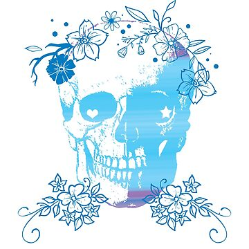Skull + Flowers, Halloween Gifts + T-shirts, Day of the Dead - Blue, Teal by sparkpress