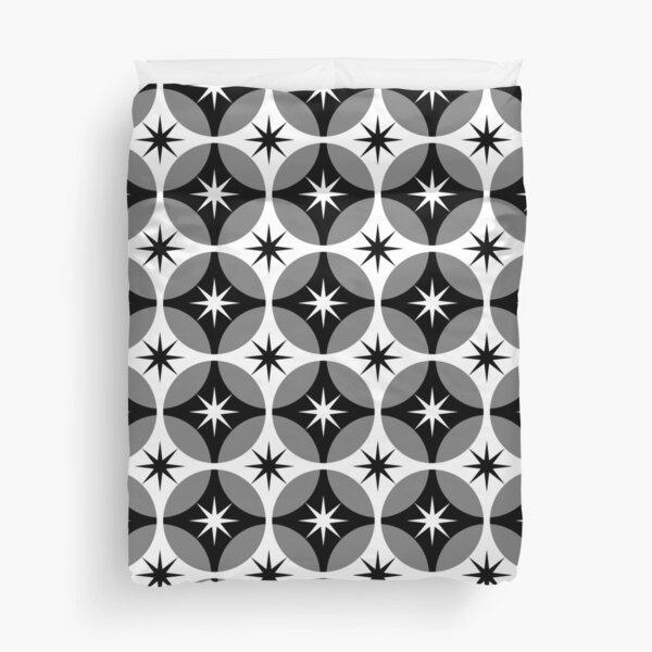 Black and White Mid Century Geometric Star Circle Lock Print Duvet Cover